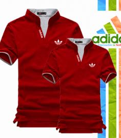Áo thun cặp adidas cổ trụ màu đỏ