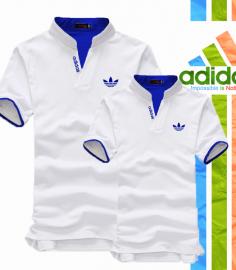 Áo thun cặp adidas cổ trụ màu trắng