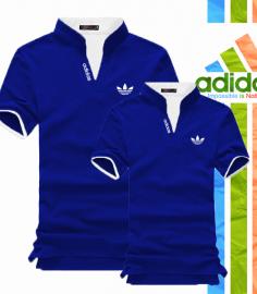 Áo thun cặp adidas cổ trụ màu xanh coban